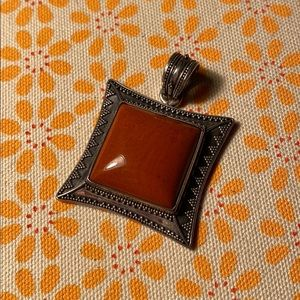 Vintage 925 silver and stone pendant - Indonesia